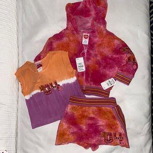 "NWT GIRLS Vintage tie dye ""LIPSTICK"" 3PC. SET"